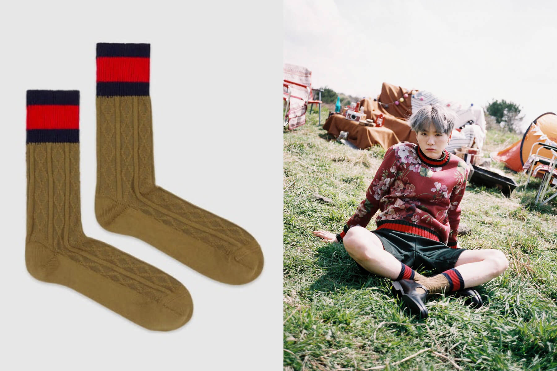Suga BTS – Gucci Cotton Socks with Web ($100 USD)